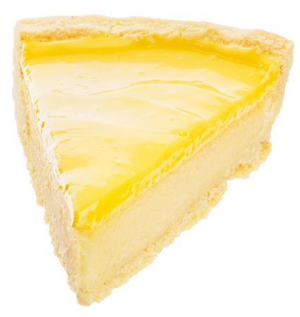Piece of fresh lemon cheesecake isolated on white background