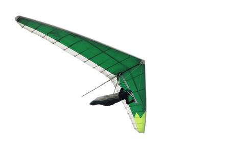 Green hang glider wing isolated on white. Extreme action sport