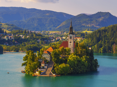 Amazing Bled lake. Famous church on island in Slovenia, Europe