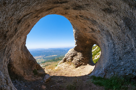 Beautiful heart shaped cave near Ager, Catalonia