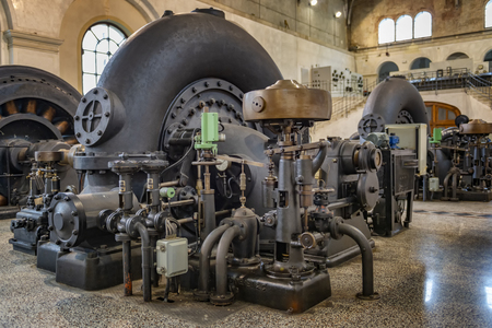 Retro hydroelectric power plant. Old machinery