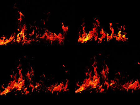 Set of burning flame backgrounds. Campfire on black background Фото со стока