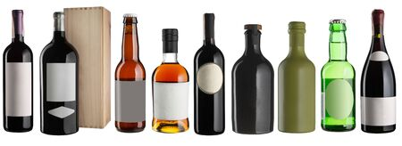 Set of alcohol drinks bottles isolated on white. Wine, beer, whiskey, sake, champagne