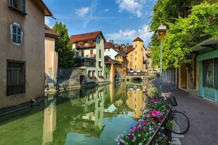 Bright streets of small French town in summer. Annecy, France
