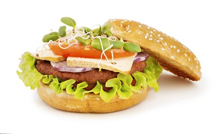 Vegan burger with tofu cheese and vegetables Imagens