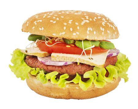 Tasty vegetarian burger isolated on white