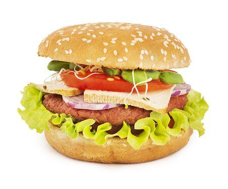 Sabrosa hamburguesa vegetariana aislado en blanco con sombra