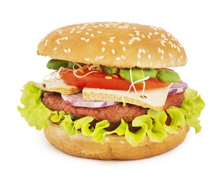 Tasty vegetarian burger isolated on white with shadow