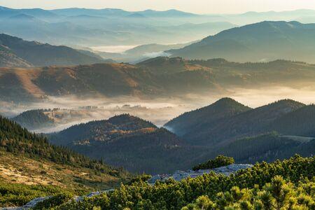 산 정상에서 놀라운 아침입니다. 안개로 뒤덮이고 아침 햇살이 비치는 산골짜기의 탁 트인 전망.