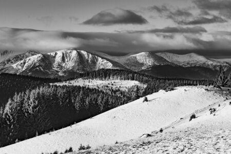Artistic winter mountain landscape in black and white. Carpathian mountains, Ukraine. High resolution. Banco de Imagens