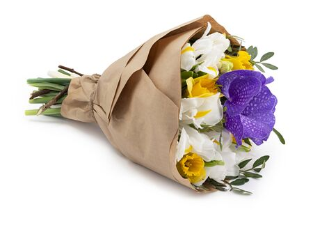 Beautiful flowers bouquets wrapped in a craft paper as a gift. Isolated on white background with shadow