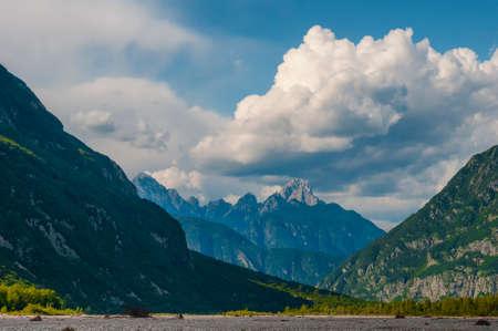 Beautiful valley of Tagliamento river with Creta Grauzaria peak. Mountain landscape in Northern Italy