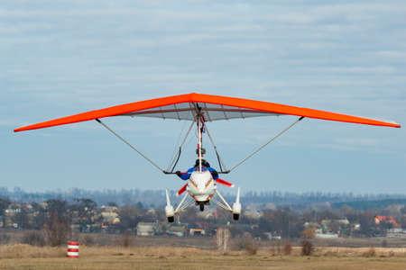 2020-02-09 Byshiv, Ukraine. Motorized hang glider flight. Trike flight