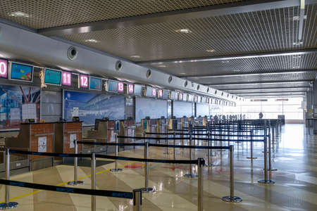 Boryspil airport, Ukraine, March 22 2020, empty airport during covid-19 coronavirus outbreak. Editorial