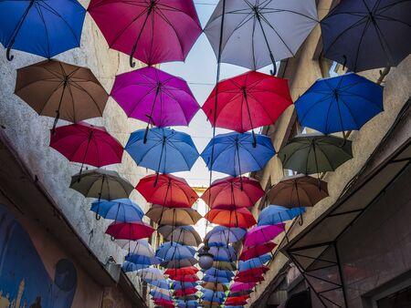 Colorful umbrellas streets decoration. City streets in Uzhgorod, Ukraine Stock Photo