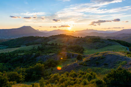 Beautiful sunset Provence. Chabre mountain near Laragne-Monteglin, France
