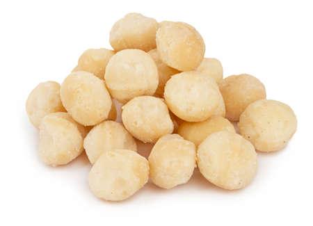 Heap of healthy macadamia nuts isolated on white background Zdjęcie Seryjne
