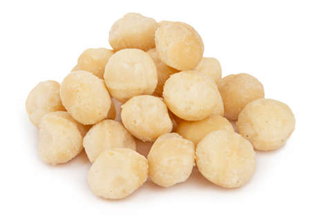 Heap of healthy macadamia nuts isolated on white background Reklamní fotografie