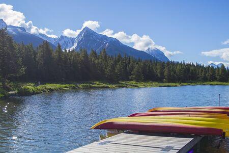 Maligne Lake canoe rental Stock Photo