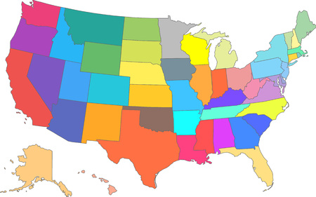 Vector illustration of a USA Map with different colors for each state.