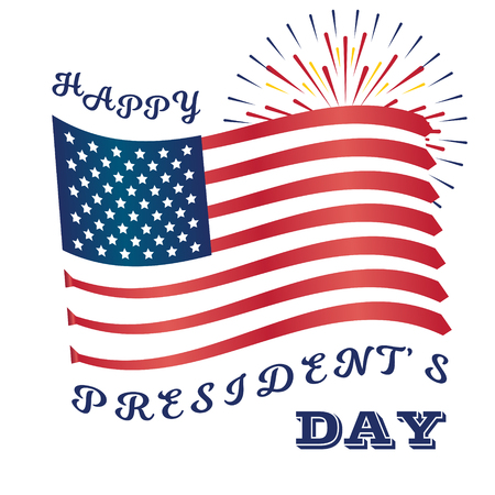 Presidents Day Art with USA Flag and Fireworks. Trumps Ties Illustration