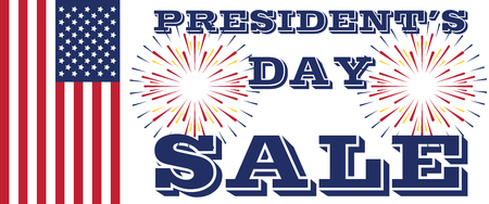 Presidents Day Sale Art. USA Flag and Fireworks Banque d'images - 125339417