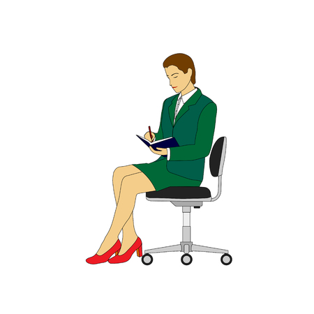 Business woman in a green suit sitting on an office chair.