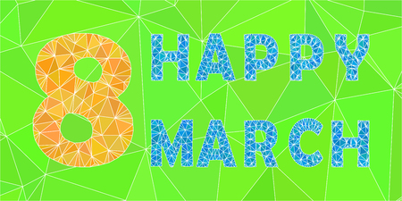 March Womens Day Triangular Letters Holiday Card. Yellow number, blue letters and green backgground with shades. Foto de archivo - 125017680