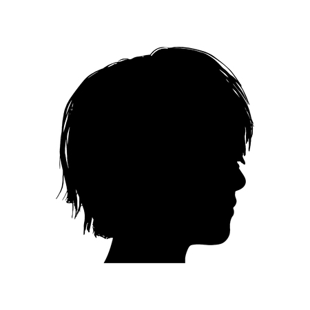 Black vector silhouette of a girls head Illustration