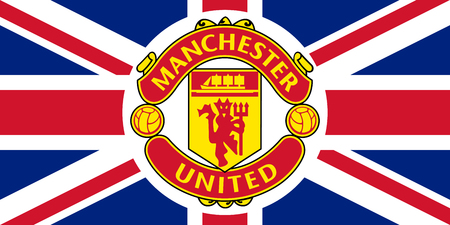 Manchester United emblem on the flag of United Kingdom