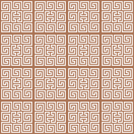 Meander white ornament on the brown background. Seamless pattern. For print and web. Foto de archivo - 124561972