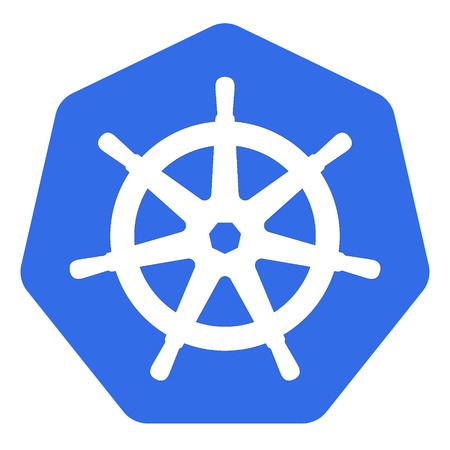 Kubernetes emblem white helm on blue back