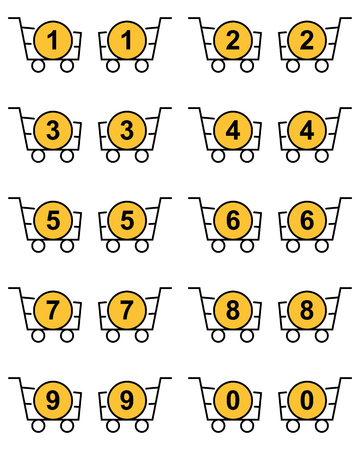 Set of outline baskets with circle yellow purchase counter Foto de archivo - 124514607