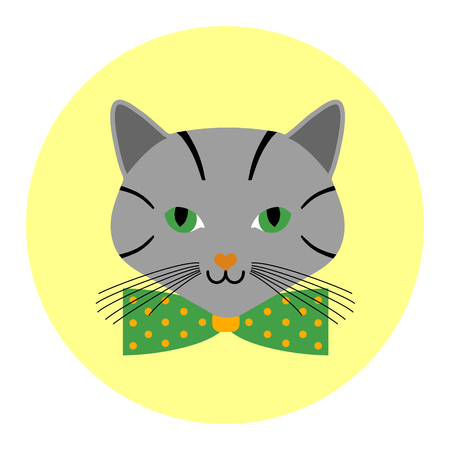 Grey cats avatar with green bow tie in the circle. Cartoon style. Foto de archivo - 124486786