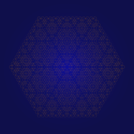 Hexagonal fractal abstract bg yellow on blue 스톡 콘텐츠 - 119356370