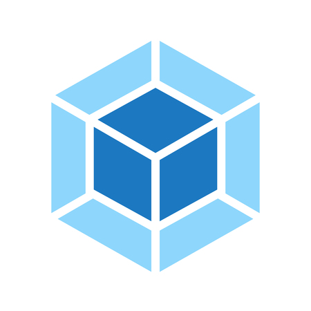 Webpack vector emblem. Double blue coub on the white background.