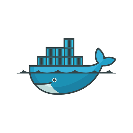 Docker emblem. A blue whale with several containers.