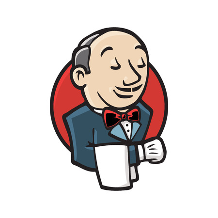 Jenkins emblem. Man on the red circle background. Vector icon.