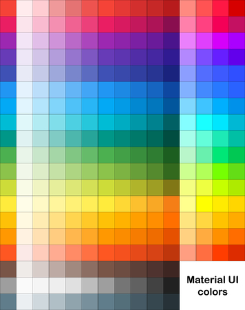 Vector palette of Material UI style. Contains 273 original colors. Stock Illustratie