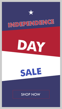Vertical banner for sale on Independence Day USA. Vector illustration in colors of national flag of america. Marketing action by July 4th. Design with beveled backgrounds. Targeted advertising.