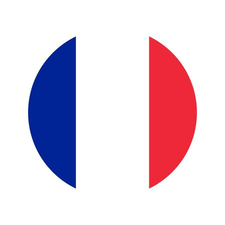 Flag of France. Vector isolated French flag for banner or print or illustration. National standard of the French Republic. Image inscribed in a circle. Foto de archivo - 125332072