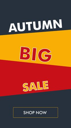Simple autumn sale vertical banner or flyer with oblique backgrounds. The best solution for seasonal promotions. Illustration