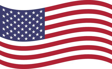 Waving USA flag. Preserved standard colors and proportions. Suitable for use in web design, print, for icons and banners. Foto de archivo - 125332092