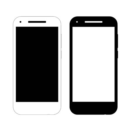 Two vector smartphone mockups. Front view, black and white options. Suitable for design of web pages, icons, banners, printing. Abstract model of an abstract manufacturer. Foto de archivo - 125332099