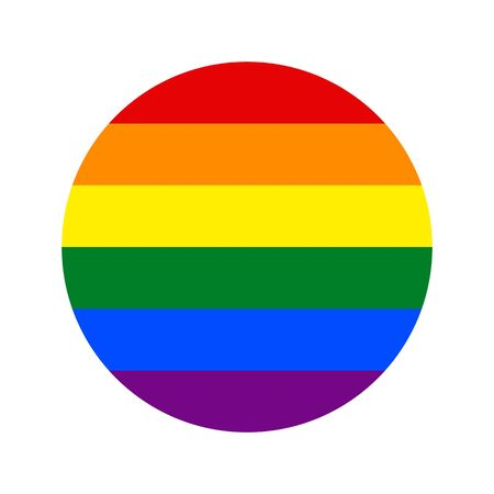LGBT rainbow vector isolate flag for banner or print or illustration. Round icon based on the famous symbol of the struggle for human rights and gender diversity. Foto de archivo - 125332104
