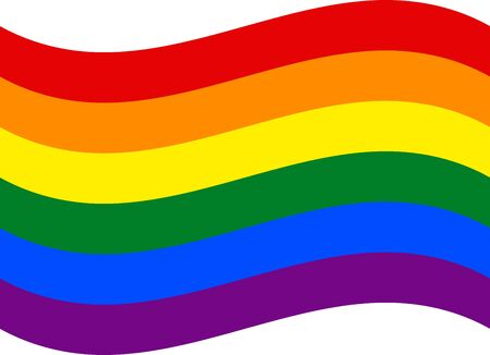 LGBT rainbow vector isolate waving flag for banner or print or illustration. Icon based on the famous symbol of the struggle for human rights and gender diversity. Foto de archivo - 125332111