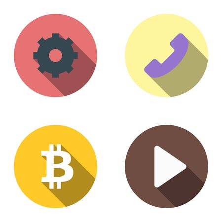 Set of 4 vector flat icons - gear, phone, bitcoin, start. Material design with long shadows and highlights. Cool colorful round pictograms made in the same style. Scaled without loss of quality. Foto de archivo - 126283547