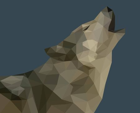 A howling wolf on an invisible moon made up of triangles. Triangulated vector image on a dark background. Wildlife symbol, gray predator. Stylish design picture. Foto de archivo - 126283548