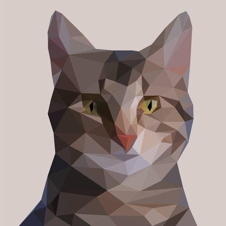 Cute bengal cat made up of triangles. Triangulated vector image on a light background. Domestic life symbol. Stylish design picture. Foto de archivo - 126283552