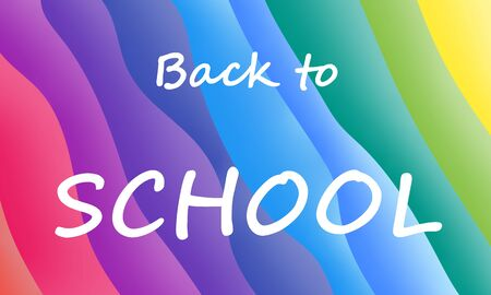 Banner with text Back to school on rainbow gradient background. Marketing action by the 1st September. Foto de archivo - 126283553